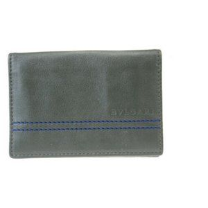 Auth Bvlgari Leather Card Case Gray